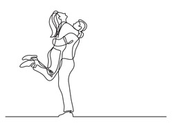 one line drawing of hugging couple