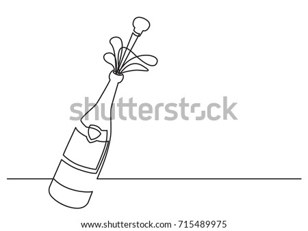 one line drawing of isolated vector object - champagne bottle with shooting cork