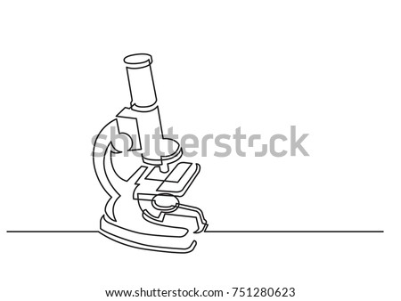 one line drawing of isolated vector object - scientific microscope