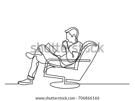 one line drawing of man sitting and reading