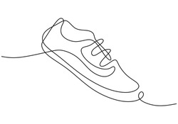 One line drawing of shoe. Sneakers a sport shoes for hand drawing minimalism design. Sketch sneakers for your creativity isolated on white background. Fashion style concept. Vector illustration