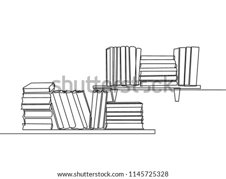 one line drawing of tidy books
