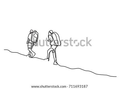 one line drawing of travelers walking
