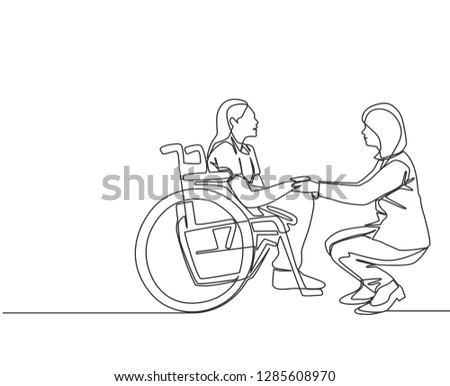 One line drawing of young doctor visiting and handshaking the old patient with wheelchair in hospital - continuous line drawing vector