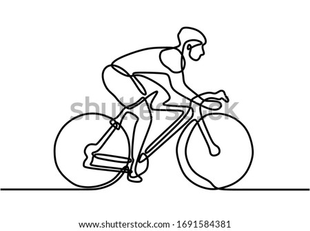 One Line Drawing or Continuous Line Art of a Bicycle Athlete. Professional. Sport theme bicycle rider. Bicycle athlete or cyclist riding on the street. Vector Illustration.