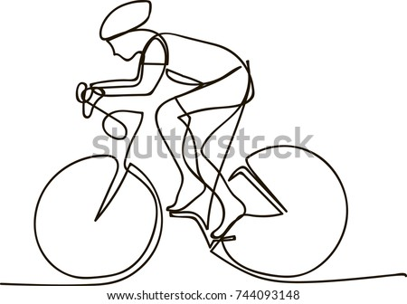 One Line Drawing or Continuous Line Art of a Bicycle Athlete. Vector Illustration.