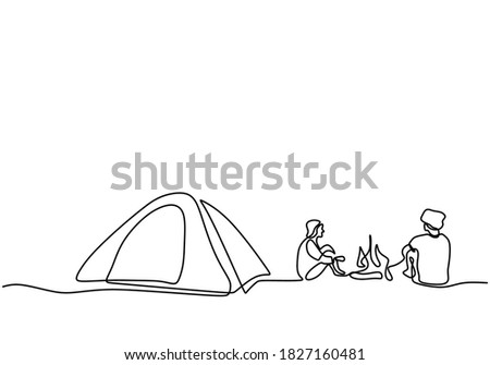 One line drawing people camping. Young man enjoy outdoor activity with tents and campfire. Adventure camping and exploration. Happy male excited by camping in the mountains enjoying nature