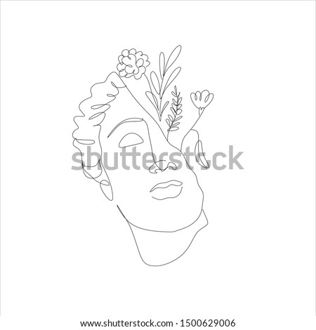 One line drawing sketch. Venus sculpture. Modern single line art, aesthetic contour. Woman with flowers vector. Perfect for home decor such as posters, wall art. Art logo