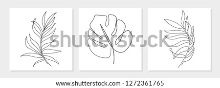 One line drawing vector monstera leaf and palm tree leaves. Modern single line art, aesthetic contour. Perfect for home decor such as posters, wall art, tote bag or t-shirt print, sticker, mobile case Сток-фото ©