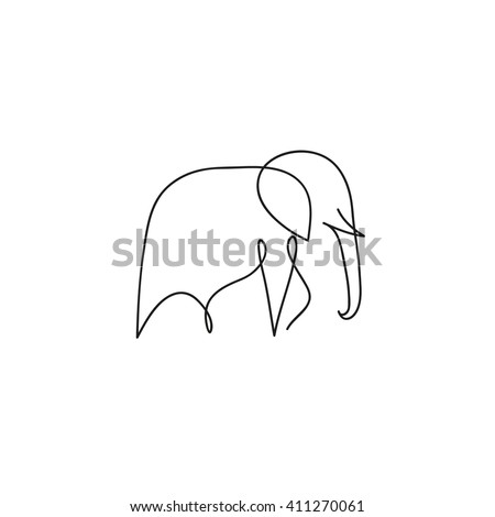 one line elephant design