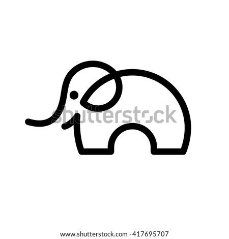 One line elephant icon