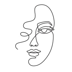 One line face. Minimalist continuous linear sketch woman face. Female portrait black white artwork outline vector hand drawn illustration. Modern art girl head for beauty salon logo