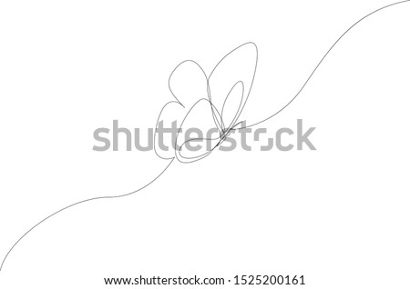 One line flying butterfly design silhouette. Hand drawn minimalism style vector illustration