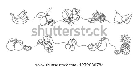 One line fruits. Continuous line exotic pineapple banana citrus pear and grape, trendy monoline healthy food. Vector fruit isolated set