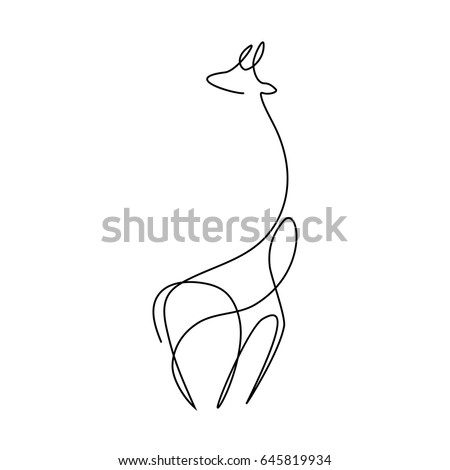One line giraffe design silhouette.Hand drawn minimalism style vector illustration