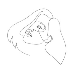 One line girl or woman portrait design. Hand drawn minimalism style vector illustration