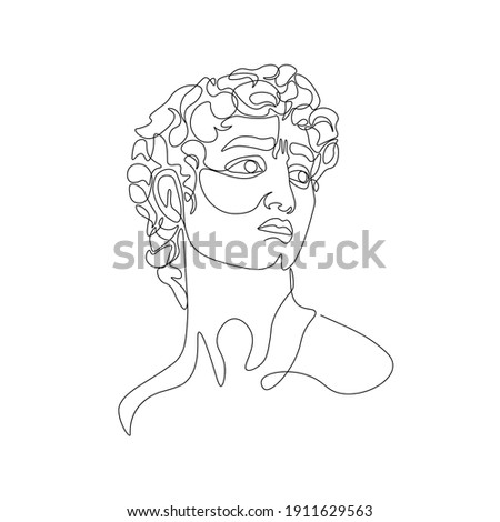 One line greece mythology sculpture. Abstract art of ancient greek classic statue, Michelangelo's David head for tattoo, print