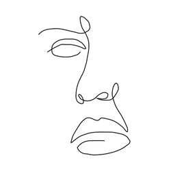 One line hand drawn face. Abstract portrait. Simple logo in minimal style for beauty salon, beautician, makeup artist, stylist. .
