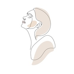 One line hand drawn vector woman face. Abstract portrait. Simple logo in minimal style for beauty salon, beautician, makeup artist, stylist. .