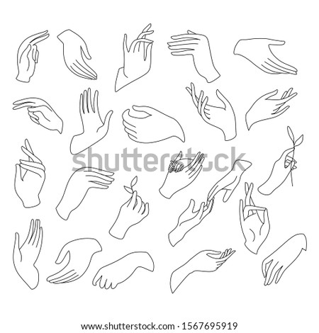 One Line hands vector drawing. Hands icon. hands logo illustration. Minimalist print. Romantic illustration. Hands palms together. Vector illustration.