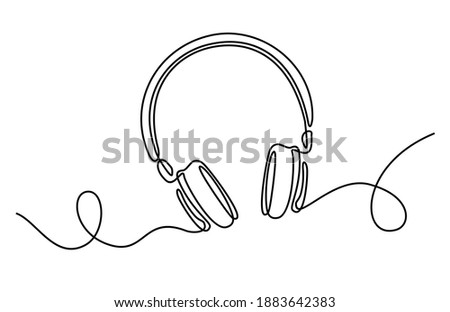 One line headphones. Hand drawn vector illustration. Continuous line drawing of headphones music musical sound wave. Wireless headphones with music and technology symbols