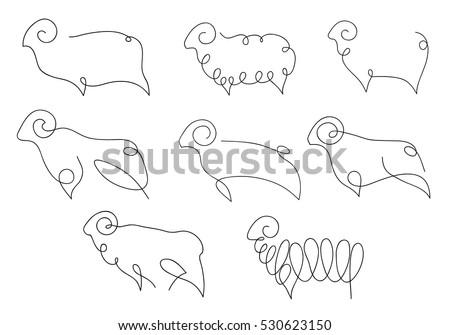 One line sheep design silhouette. Logo design. Hand drawn minimalism style vector illustration.
