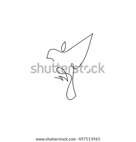one line sparrow flies design