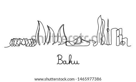 One line style Baku city skyline. Simple modern minimaistic style vector.