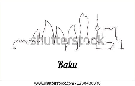 One line style Baku sketch illustration.
