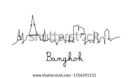 one line style bangkok city