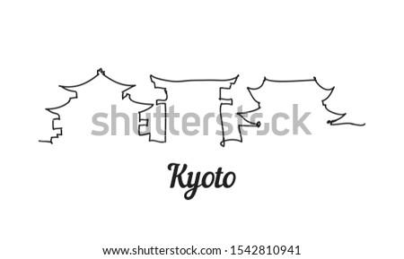 one line style kyoto skyline