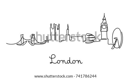 one line style london city