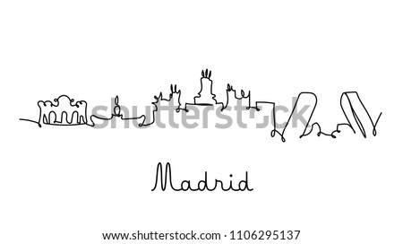 one line style madrid city