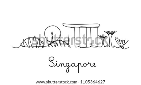 one line style singapore city