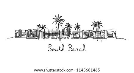 One line style South beach. Simple modern minimaistic style vector.