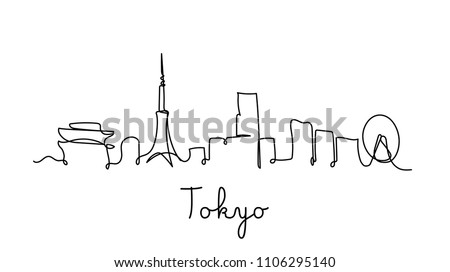 one line style tokyo city