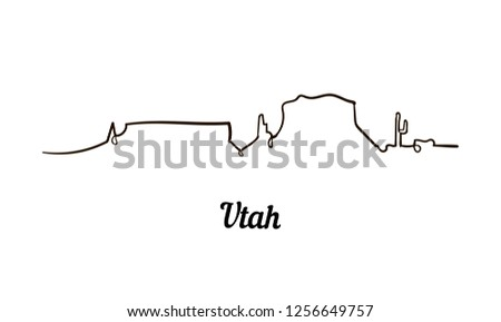 one line style utah skyline