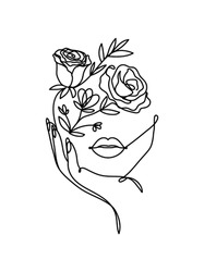 One line vector drawing with abstract face with flowers. Freehand continuous line portrait design. Botanical hand drawn elements for beauty,fashion,cosmetics, prints etc.Vector illustration