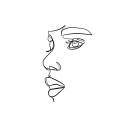 One line vector woman portrait. Linear female face. Single abstract silhouette in minimal style. Hand drawn art.