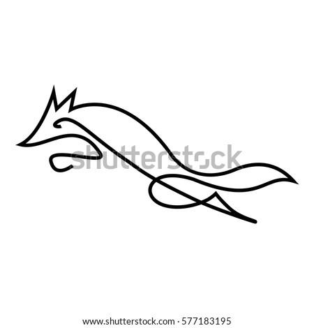 one line wolf logo