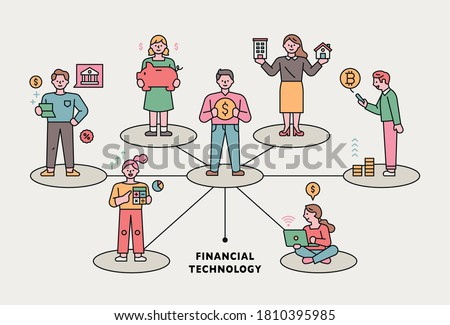 One man is standing at the center of the circle and others are standing in the spreading circle. Business concept flat design style minimal vector illustration.