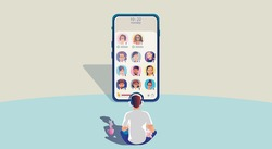 One man use headphones listens to a smartphone, screen show status of people using social networking applications, Club, house Drop in Audio, learning or meeting online, Vector illustration, Flat