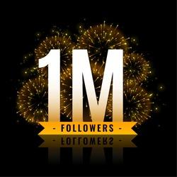 one million followers celebration fireworks background