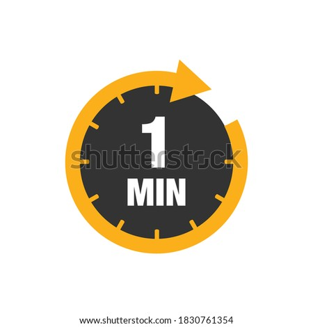 One minute icon isolated on white background. Cooking time concept. 1 minute waiting time icon. Vector stock