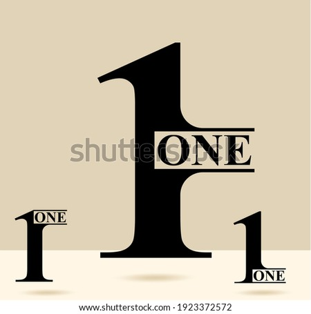 One; numeral and word logo for number. One letter with one figure logo design. Number names typography design. Serif font design.  Text logo studies for all numbers.
