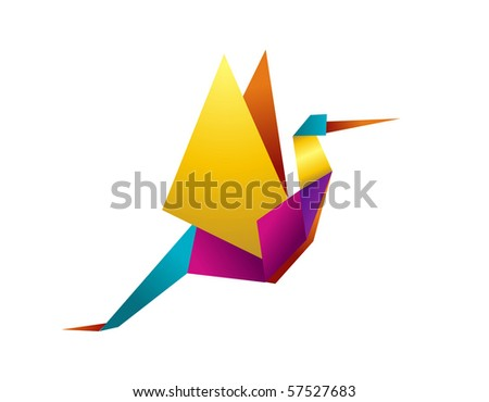 One Origami vibrant colors stork. Vector file available. - stock vector