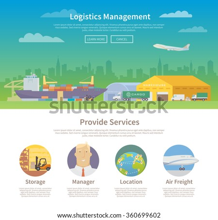 One page web design template on the theme of Logistics, Warehouse, Freight, Cargo Transportation. Storage of goods, Insurance. Modern flat design.