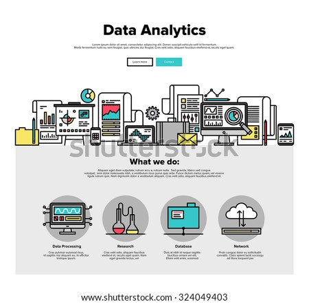 One page web design template with thin line icons of business data analytics, finance statistics, web search analysis, database research. Flat design graphic hero image concept website elements layout