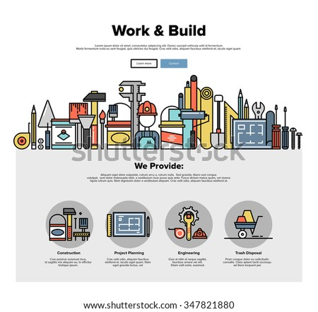 One page web design template with thin line icons of engineering work tools, building equipment objects, professional repairing service. Flat design graphic hero image concept, website elements layout