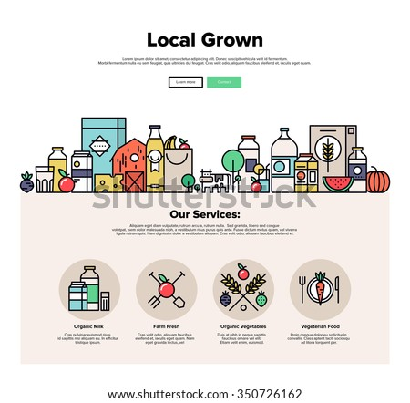 One page web design template with thin line icons of local farm grown vegetables, natural organic food, eco friendly seasonal products. Flat design graphic hero image concept, website elements layout.